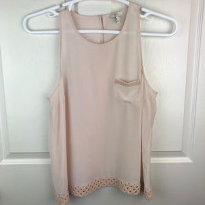 Joie Sleeveless Tank Top Pink 100% Silk Size Large